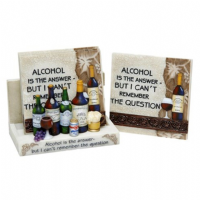 Classic Coasters Gift Set 4 in Holder - Alcohol Is The Answer